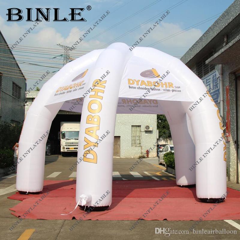 عملاق مخصص معلما 6M البيضاء نفخ خيمة العنكبوت مع شعار الترويجية مظلة قبة خيمة الحدث المعرض التجاري سرادق لعبة خيمة للإعلان