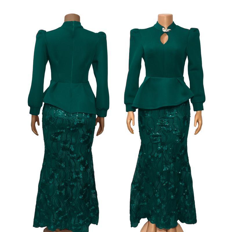 الغابات الخضراء الرباط حورية البحر فستان ماكسي استعداد لارتداء اللباس حزب طويل مع الأكمام الطويلة