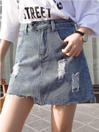 Spring and summer 2019 fashion hole A-line skirt high waist thin skirt pants anti walk denim skirt women