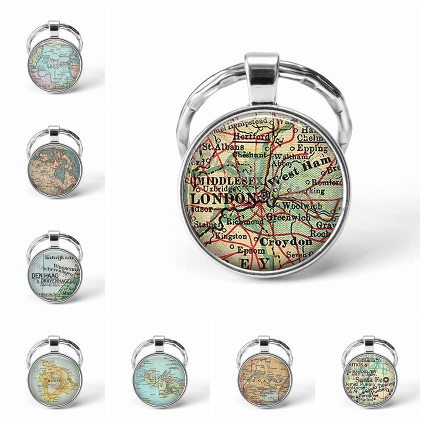 Mais recente correntes de metal chave Handmade Vintage Londres Mapa Mundial da Terra Geografia Chaveiro Vidro Dome Chaveiros For Men dom mulheres