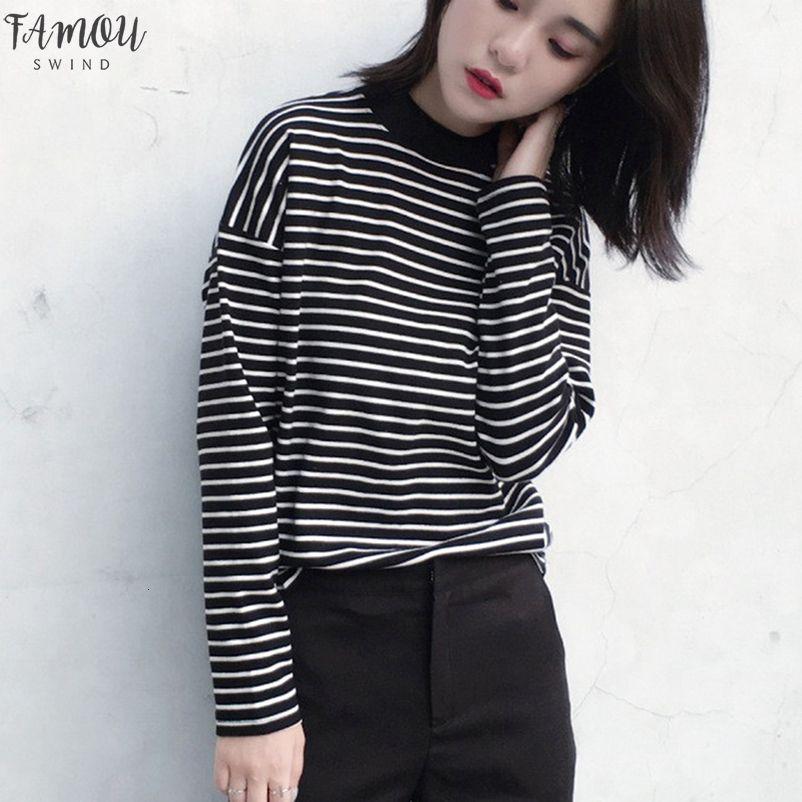 2020 Autumn Women T Shirt V Neck Fashion Clothing Lady O Neck T Shirt Causal Black White Strip Long Sleeve Top For