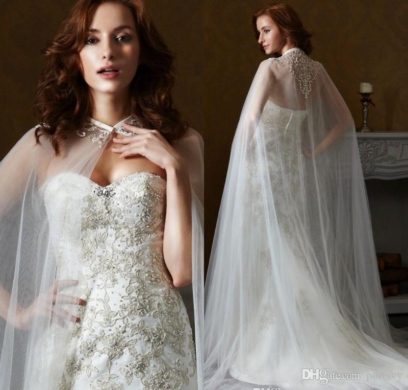 White Ivory Mariage Wraps Tulle Mariée Veste Bridal Cloak Robe Cap APPLIQUES CHAUD VENTE CHAUD MANTO FEMME MARIAGE Accessoire