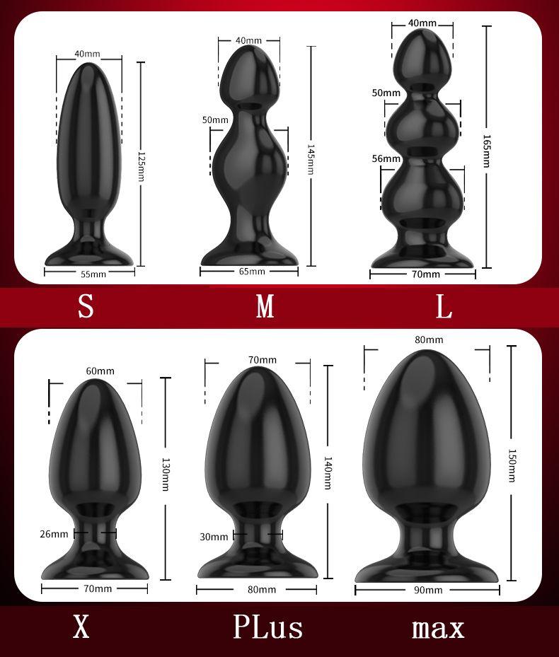 Black Silicone Big Butt Plug 6 Sizes Smooth Soft Huge Anal Plug