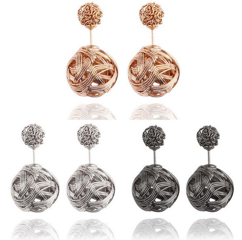 High quality Double sided Shambala Ball Stud Earrings Metal Braided Hollow Studs disco beads Earings fine Jewelry