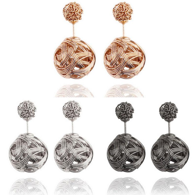 High quality Double sided Shambala Ball Stud Earrings Metal Braided Hollow Studs disco beads Earings fine Jewelry