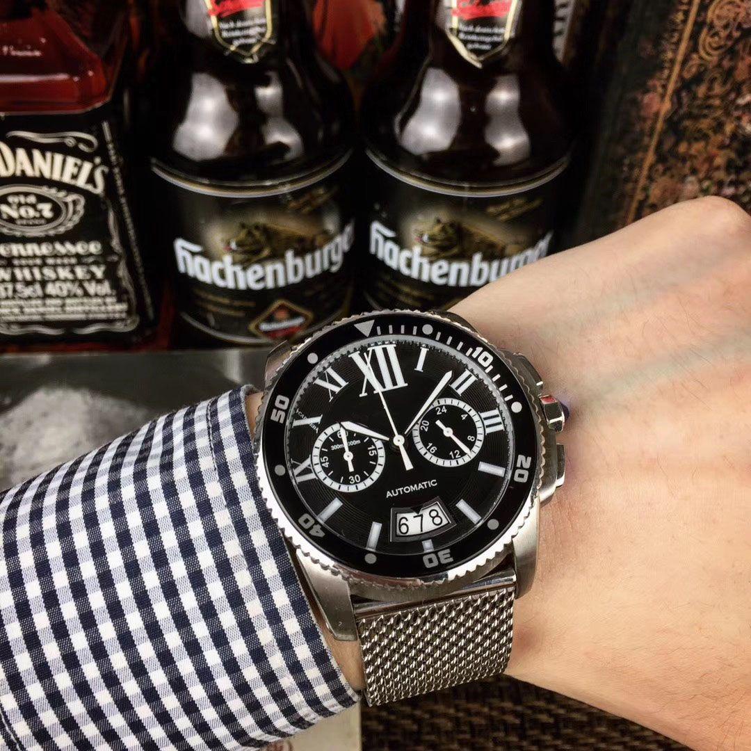 40mm 메쉬 블랙 세라믹 남성의 새로운 자동 시계 스테인리스 자동 기계 블루 남자의 시계