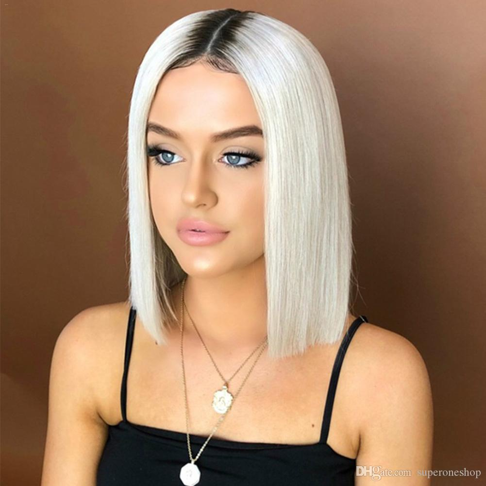 2019 New Short Hair Gradient Wig Black White Design Good Quality Durable Heat Resistant Synthetic Fiber Dyed Straight Hair Wig Headgear