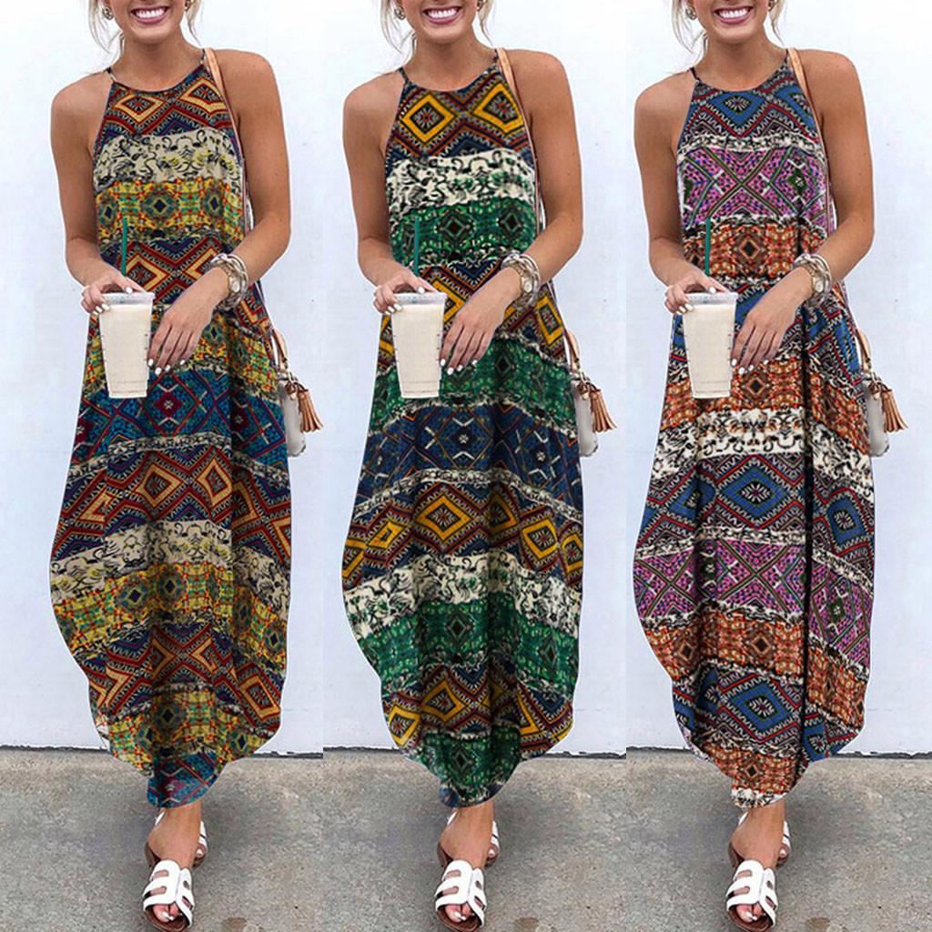 Kadın Boho Çiçek Maxi Elbise Yaz Plaj Partisi strappy Sundress Artı boyutu Bayan Elbise S-5XL2020 # s yazdır