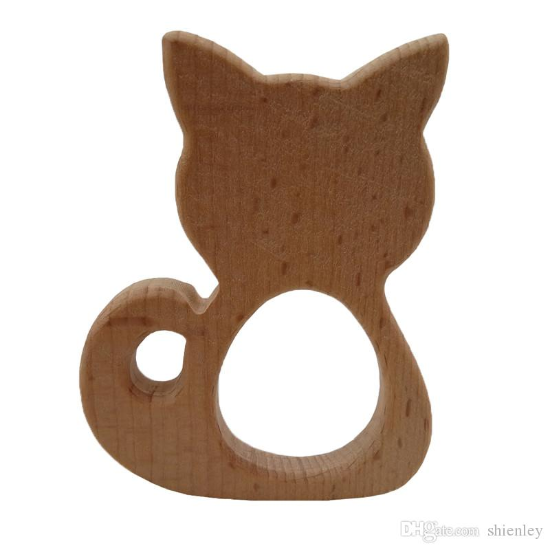 10pcs Wooden big cat Teether Nature Baby Rattle Teething Grasping Toy DIY Organic Eco-friendly Wood Teething Accessories