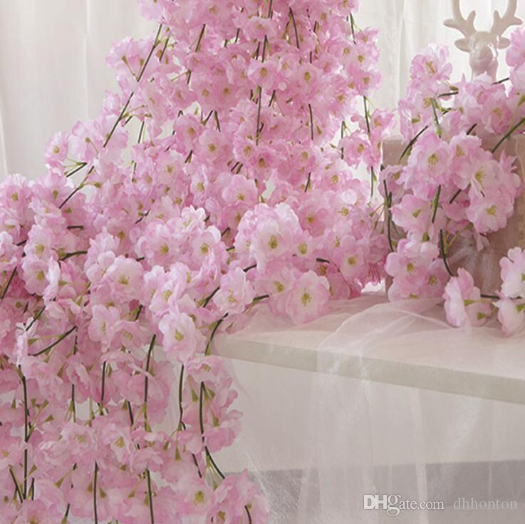 Artificial flowers cherry blossoms wisteria wedding occasion silk flowers high quality cherry vine six colors for choose home decorations