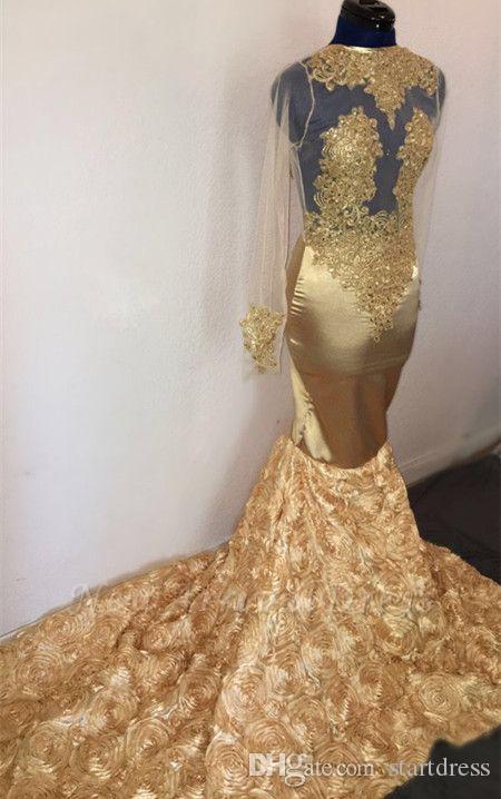 Fashion Gold Mermaid Prom Dresses Halter Neck Sheer Sleeves Appliques Top Formal Vestidos de noche African Rose Floral árabe elegante vestido de fiesta