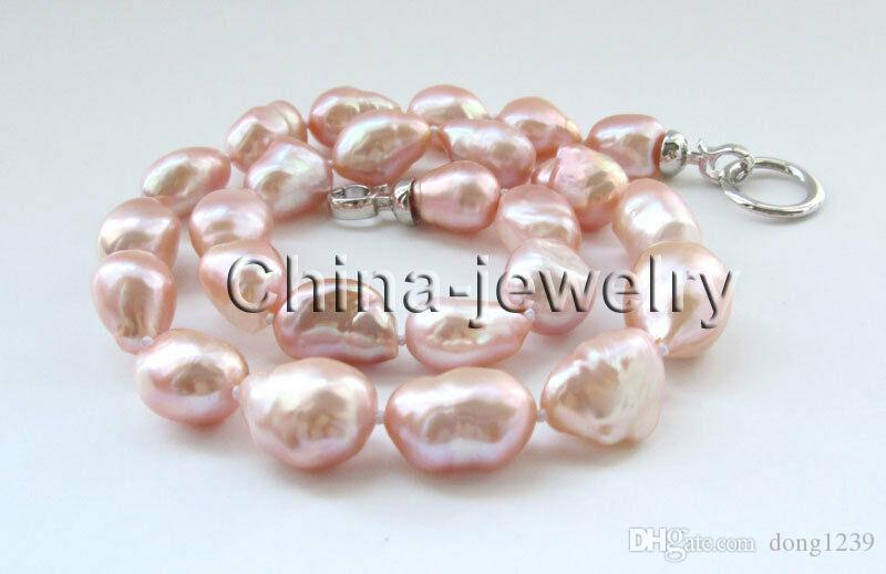 """18 """"18"""" collier de perles d'eau douce baroques roses de grande taille 14-21mm - plaqué d'or 14k"""