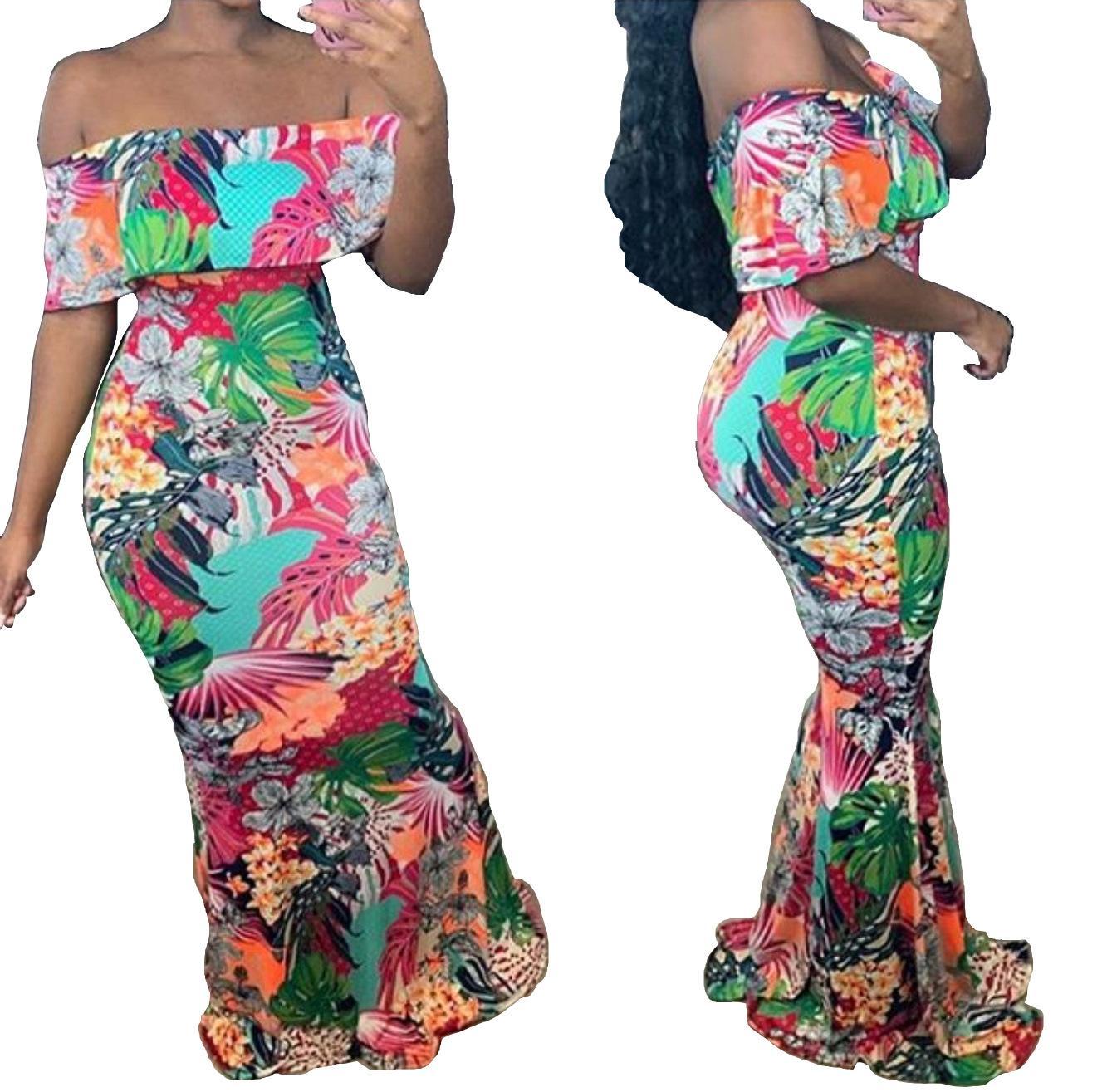 Frauen-Boot-Ausschnitt Maxikleider Mode schlanke weg Schulter Blumenmeerjungfrauenkleid Sexy Frauen-Partei-Kleid