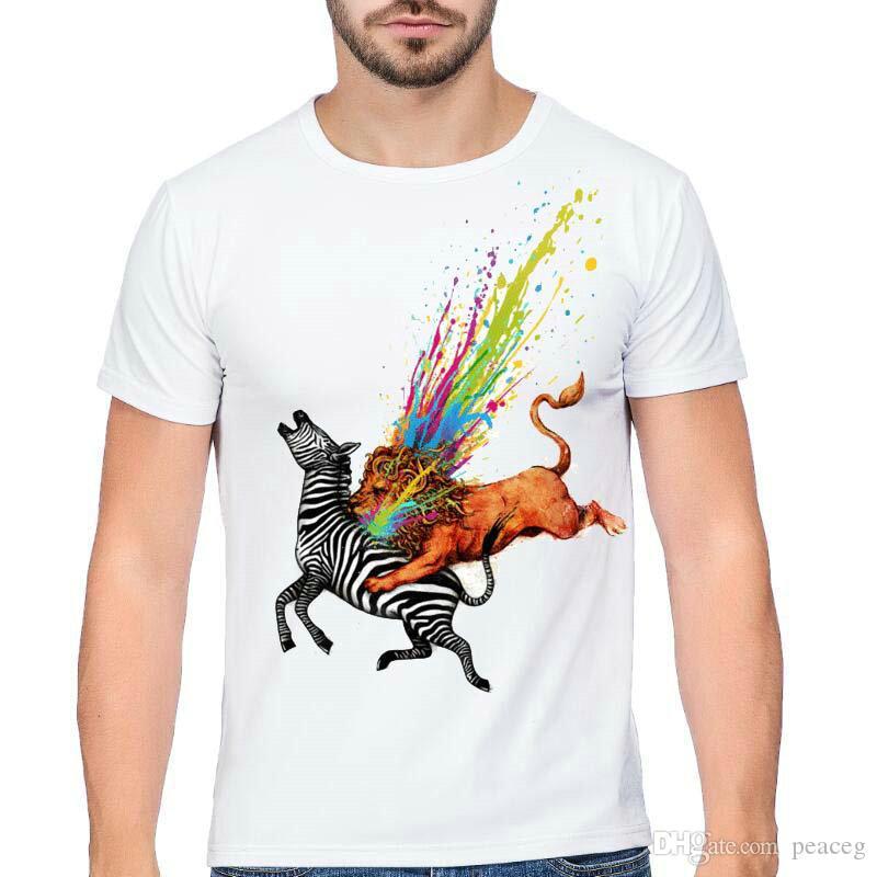 Fangen Sie T-Shirt Löwentötungszebra-Kurzschluss-Hülsenoberseiten Buntes Blut verblassen T-Stücke Weißes colorfast Unisexkleidung reines Farbmodalt-shirt