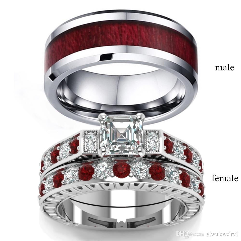 Çift Yüzük Erkekler Ahşap Kakma Tungsten karbür yüzüğü Lady S925 Gümüş Beyaz Safir Prenses Kare Kesim Gelin Düğün Takı