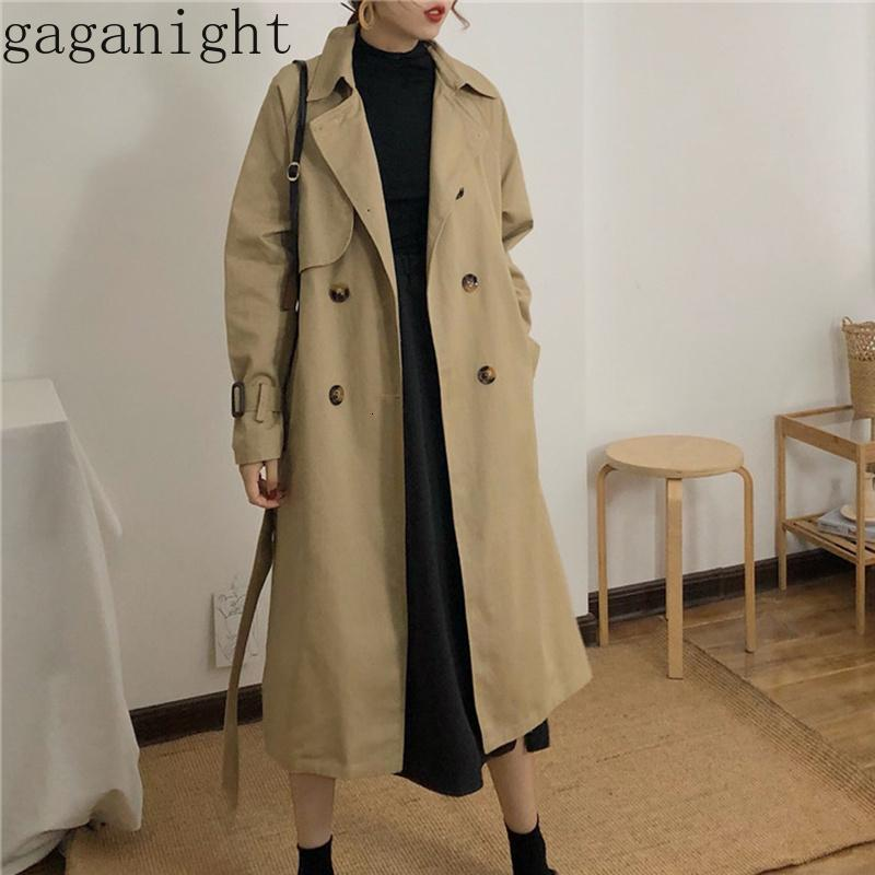 Gaganight Spring Autumn Women Fashion Korea Style Waist Belt Loose Khaki Color Trench Female Casual Elegant Soft Long Coat Cloth T190906