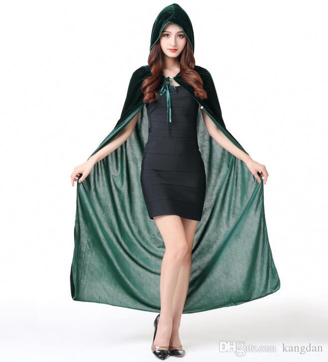 O dia das bruxas longa capa de veludo para trajes cosplay Morte diabo bruxa capa fantasia sexy mulheres capa mágica crianças adulto princesa capas de vampiro prop