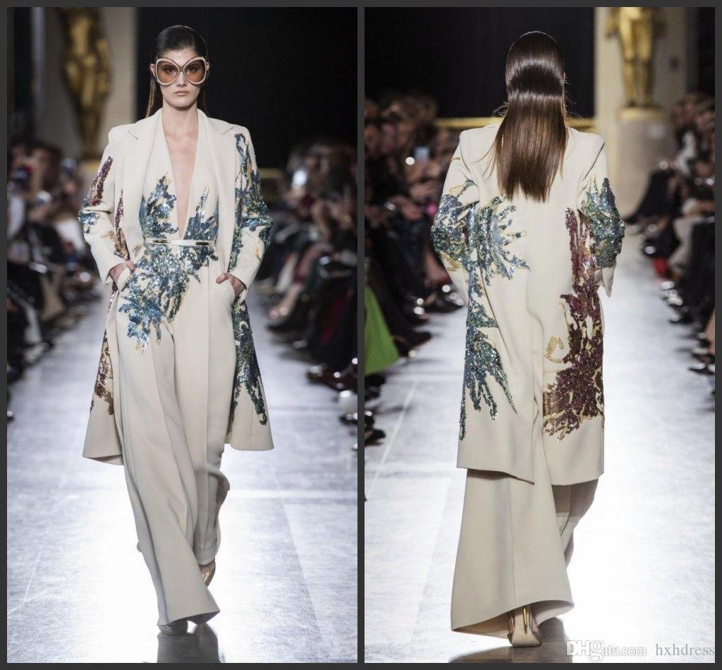 Elie Saab 2019 Evening Dresses Suits Two Pieces Sequined Prom Gowns Plus Size Long Formal Party Dress Arabic Abendkleider (Jumpsuits+Jacket)