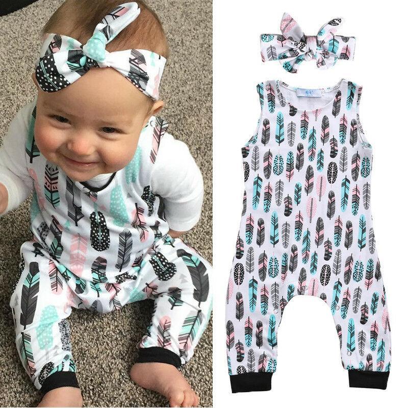 0-2Y Yenidoğan Bebek Bebek Boys Kız Tüy Romper bodysuit Kafa Kıyafet Yaz Moda Sevimli Baskı Yumuşak Kolsuz bodysuit