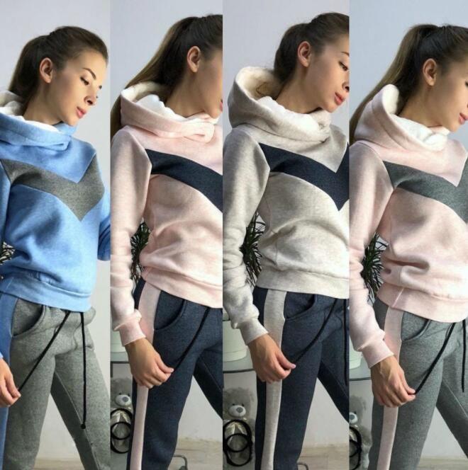Top Quality Set di 2 donne Fleece Pant Hoodies che coprono l'insieme vestiti caldi signore Patchwork tuta da ginnastica vestito di pantaloni femminile