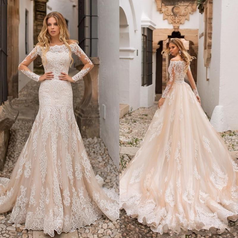 Exquisite Wedding Dresses Mermaid Bateau Botão Coberto Tulle Lace Applique manga comprida Tribunal Trem Mais side Noiva Vestidos