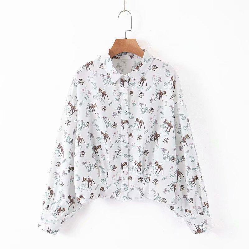 Frauen kurze Bluse Langarm-Shirt Herbst 2019 neue Art und Weise nette Animal Prints Muster Modern Mädchen beiläufiger loser Tops