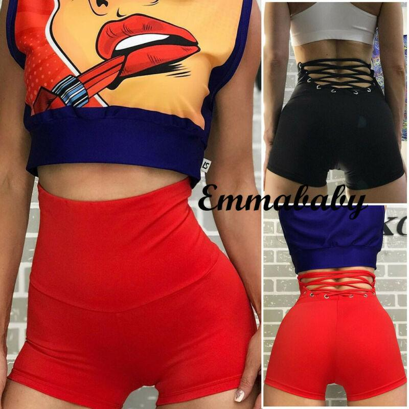 Femmes Shorts Sexy Yoga Workout GYM Sport Leggings taille haute Shorts Hot Pants