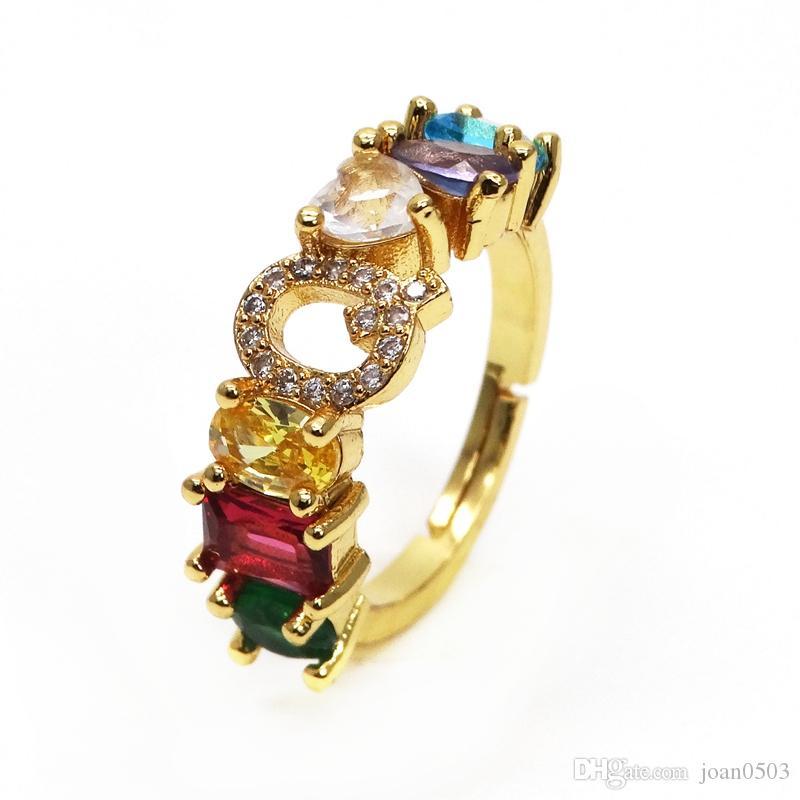 Искусственные украшения Смешанный цвет Каменное кольцо радуга ZC Pave Mix цвет Циркон буква Регулируемый размер кольца горячие продажи леди кольцо