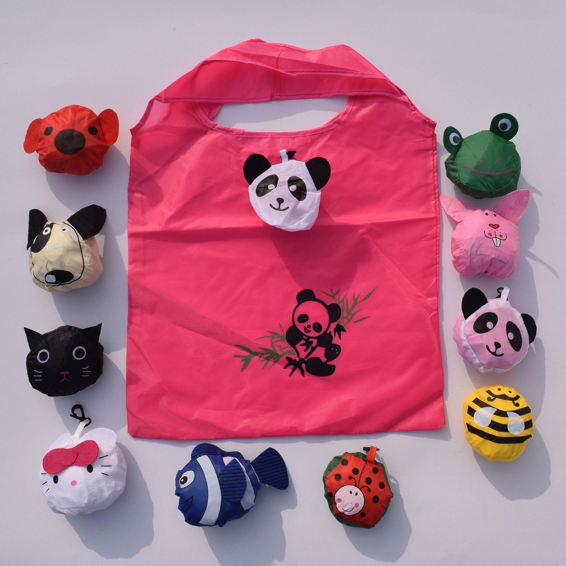 Reusable Fruit & Animal Folding Shopping Bag Foldable Eco Nylon Bags Tote Carrier Environmentally Friendly Tote Bag