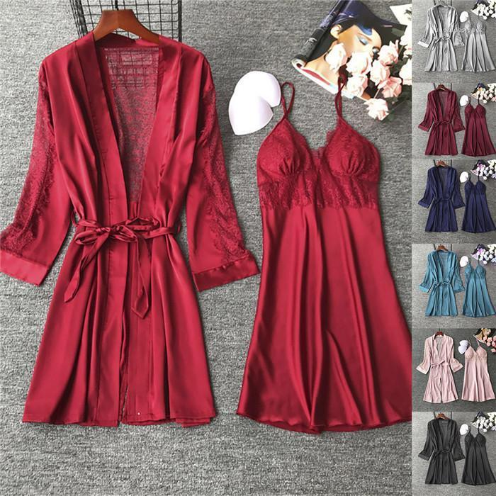 الدعاوى الدانتيل الصيف مصمم الصلبة لون السباغيتي حزام فستان مع Badage حمام Feamles الأزياء الجوف خارج البيجامة النسائية 2PCS مثير