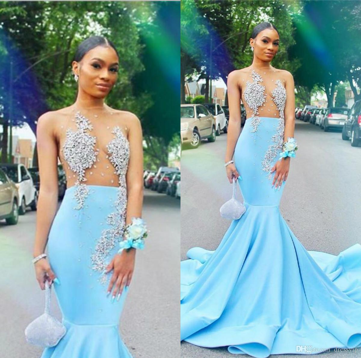 Sexy See Through Mermaid Prom Dresses For Black Girls Appliques Beads Sheer Top Sky Blue Long Evening Gowns Plus Size Women Dress