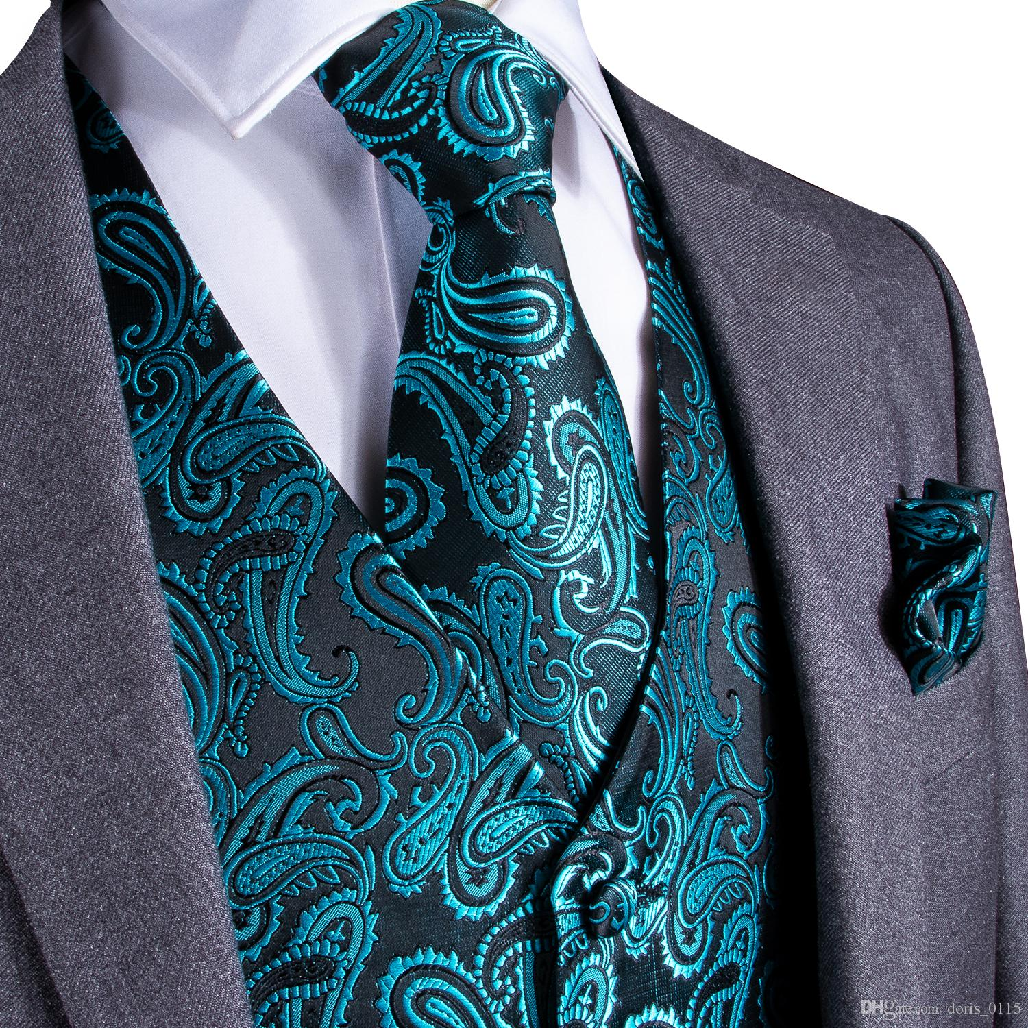 Fast Shipping Men's Classic Green Solid Paisley Silk Jacquard Waistcoat Vest Handkerchief Cufflinks Party Wedding Tie Vest Suit Set MJ-0107