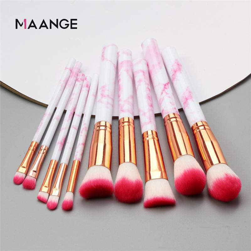 10Pcs Make Up Brushes Marble Handle Concealer Powder Eye shadow Foundation Eyebrow Professional Makeup Brush Set Beauty Tools