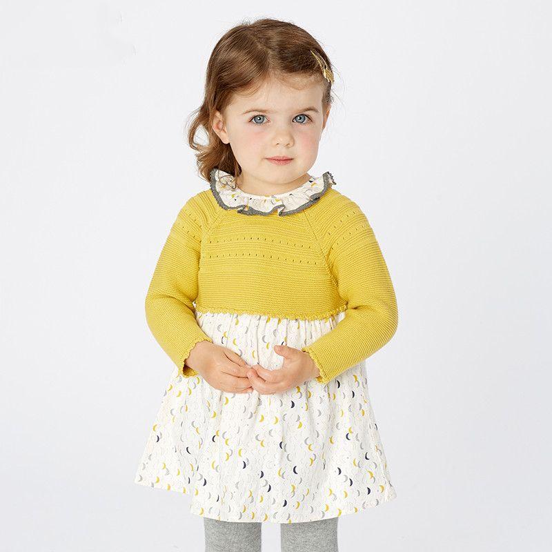 prendas de vestir lolita fiesta de los niños niños del vestido de la moda suéter impresión linda princesa infantil del bebé del otoño