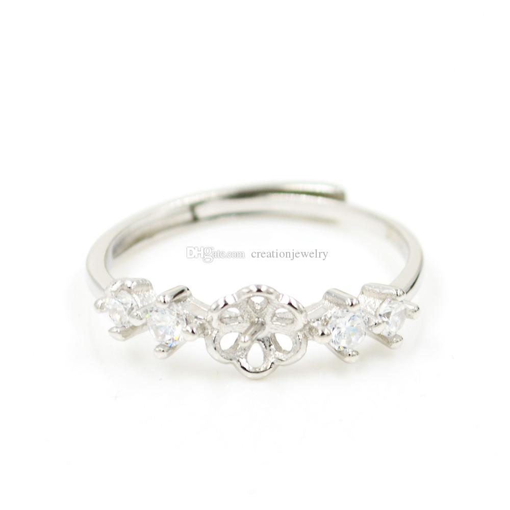 Moda anel de prata esterlina diamante das mulheres montagens tamanho ajustável boca aberta S925 anel de jóias DIY anel de casamento por atacado JZT011