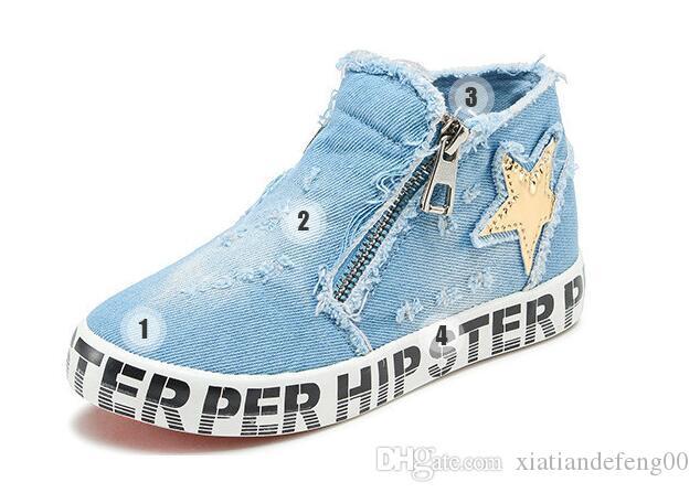 Scarpe per bambini per bambina Scarpe di tela Ragazzi Zip Primavera Autunno Moda Sneakers alte Scarpe casual per bambini Ragazze