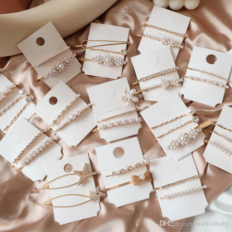 Перламутровые заколки для волос девушки цветка конструктора заколки для волос женщины горного хрусталя Детей Barrettes Бутики волосы аксессуары для женщин BB клипов