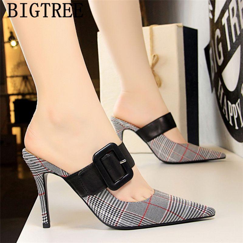 Sivri burun yüksek topuklu ayakkabılar BigTree katır yüksek topuklu seksi kadın ofis ayakkabı siyah pompalar kadın stiletto
