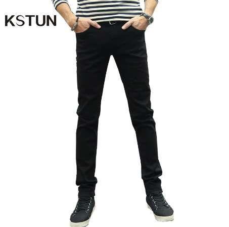 KSTUN Erkekler Jeans Yaz Stretch Casual Slim Bacak Skinny Boys Erkek Yong Man Denim Pantolon Erkek Siyah Kot Hombre Sıcak