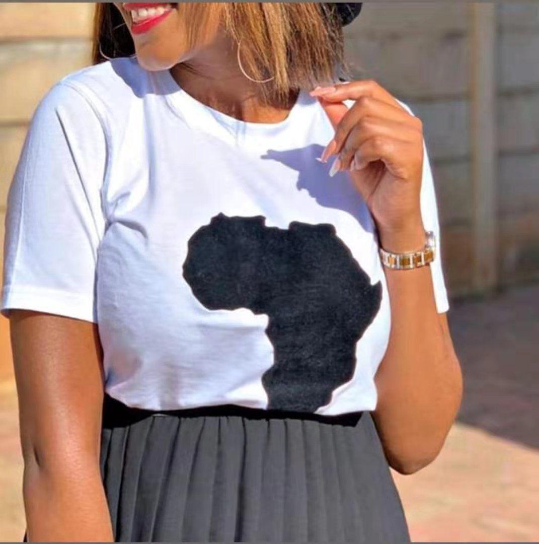 Mappa Stampa Donna Casual T-Shirt Solido Colore O-Neck Donne Top Summer Fashion Vendita calda Signore Magliette da donna