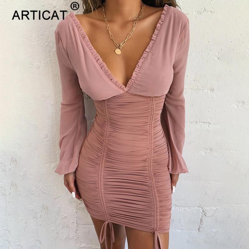 Articat Chiffon Sommer Herbst Kleid Frauen 2019 Sexy Langarm Slim Elastic Bodycon Verband Kleid Kurz Plissee Party Kleider