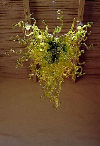 100% soprado Borosilicate Sala Arte Decoração Dale Chihully Estilo de cristal verde Teto alto Murano vidro fundido Chandelier