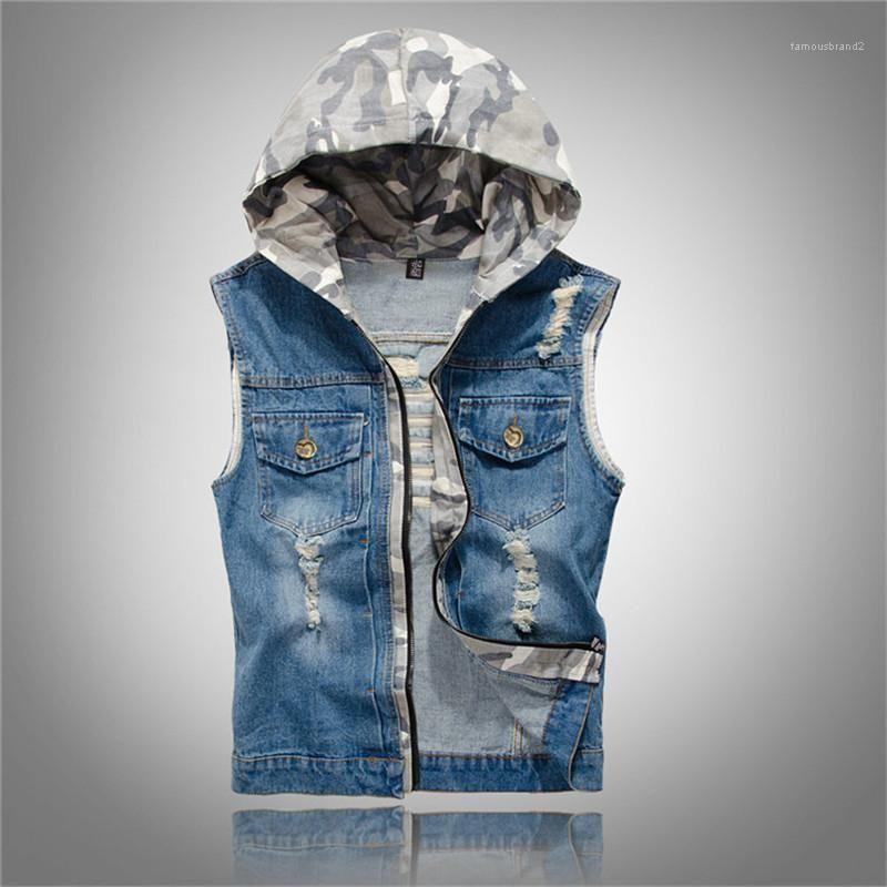 Tasarımcı Yelek Moda Delik Kasetli Erkek Kapşonlu Kamuflaj Denim Yelek Casual Cepler Erkekler Giyim Kamuflaj Kasetli Mens
