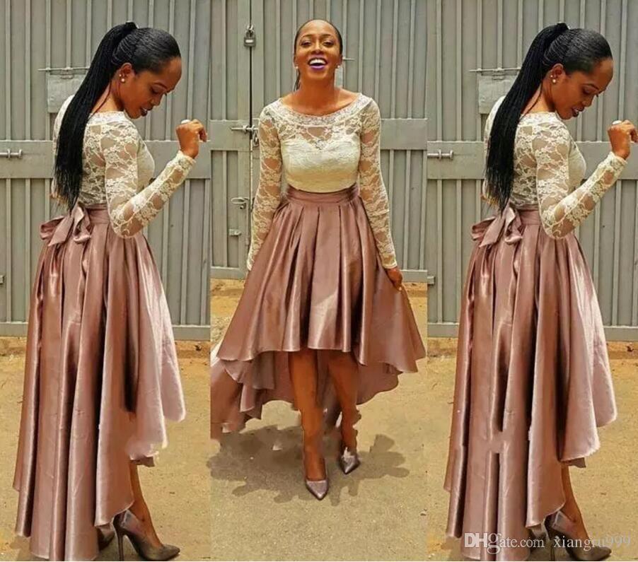 Setwell Haut Bas Robes de bal en dentelle Top manches longues A-ligne Robes de soirée Bella Naija Special Occasion Dress Robe de mariée