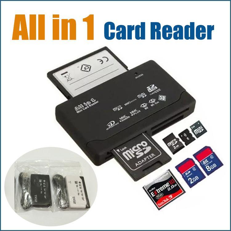 Todo-en-1 portátil todo en uno Mini lector de tarjetas multi en 1 USB 2.0 lector de tarjetas de memoria de DHL