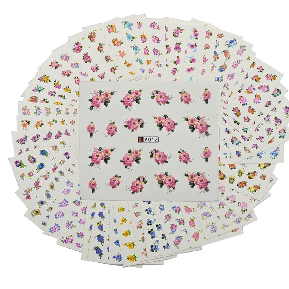 48 ورقة مختلط لطيف الزهور نمط التصميم مسمار ورقة تلميح الفن ديكورات مجموعة مانيكير diy مائية الوشم A001-048
