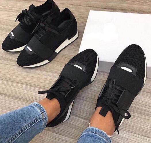 2020 Chaussures Mode Luxus-Designer-Schuhe Rennen Paris Sneaker Weiß Schwarzes Kleid De Luxe Turnschuhe Männer Frauen Freizeitschuhe