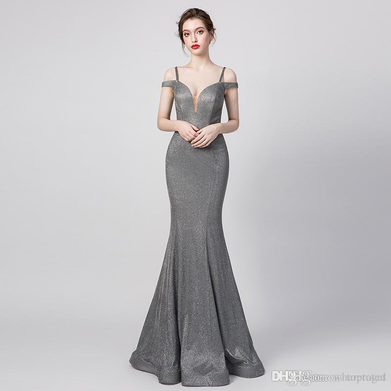 2019 Elegant Gray Prom Dresses off the Shoulder Long Mermaid Evening Gowns Count Train African Vestidos Cocktail Party Dresses 5261