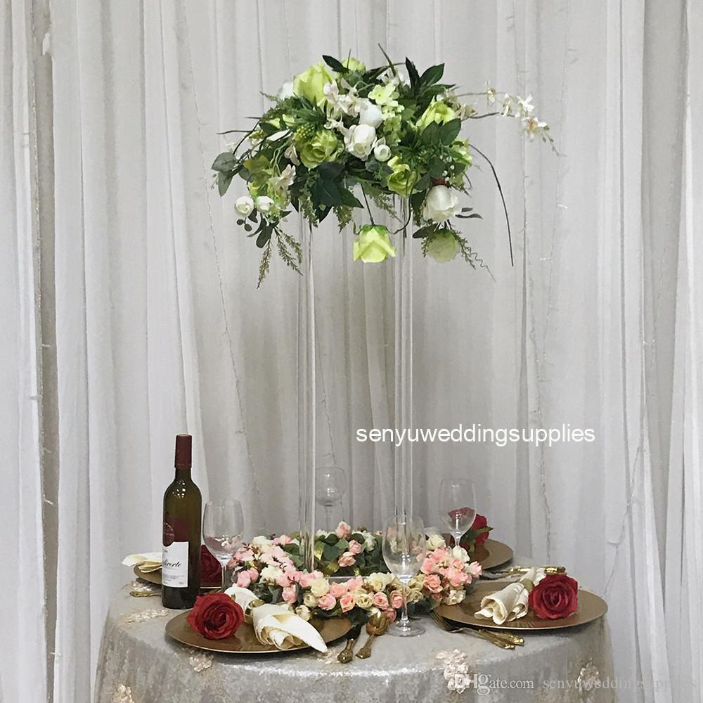 80cm tall Clear Acrylic Flower Stand Frame For Wedding Event Decoration Floristic Table Centerpiece Modern Decor