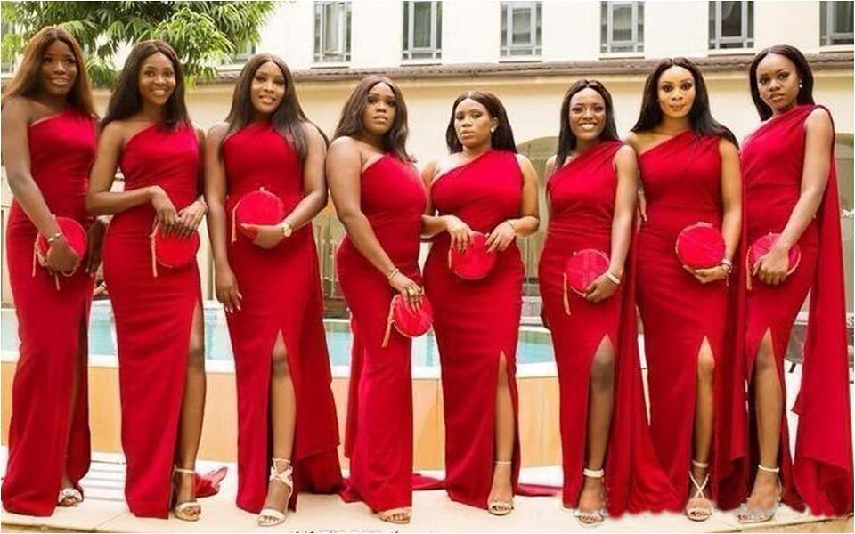 2020 Cheap Red Mermaid Bridesmaid Dresses Long One Shoulder Side Split Floor Length Long Wedding Guest Dress Formal Maid of Honor Gowns